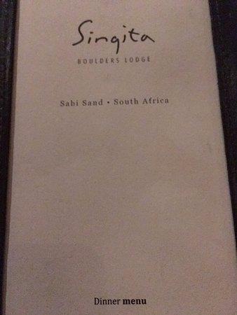 Singita Private Game Reserve, جنوب أفريقيا: New dinner menu every evening
