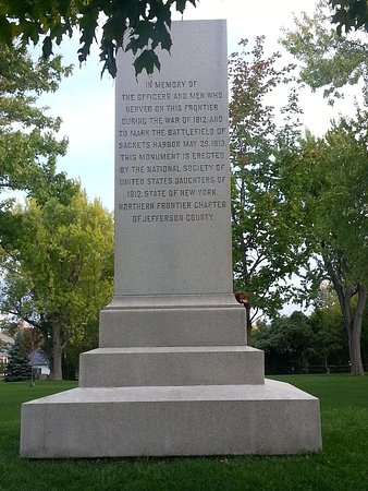 Sackets Harbor Battlefield State Historic Site: Monument in the park