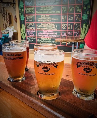 Eastern Shore Brewing: tasting flight of 5 beers... great way to sample what's available!