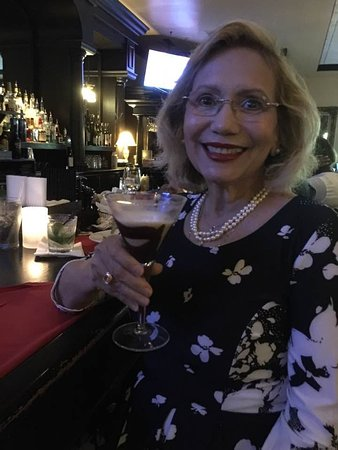 Enjoying a Chocolate Margarita at the bar