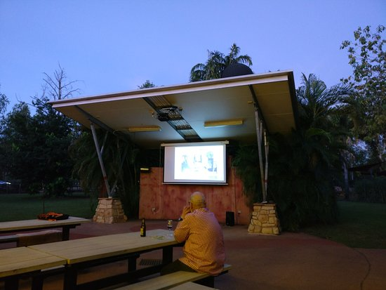 Barra Bar & Bistro: Big screen TV in outdoor dining and bar area