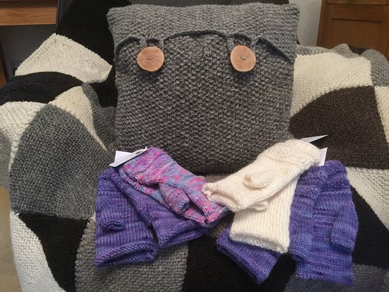 Cumbria, UK: Hand knitted fingerless mitts and a Herdwick Wool Cushion. All the wool I use is from the sheep