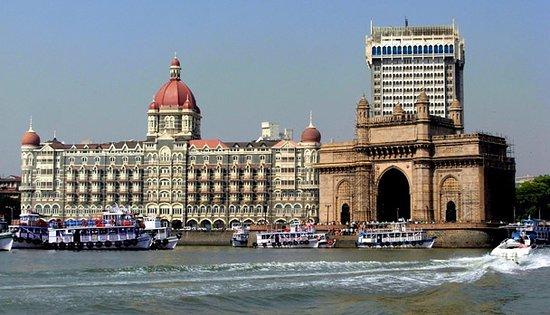 Gateway of India behind situated Taj hotel
