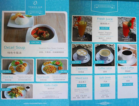 taman air spa self pampering food menu