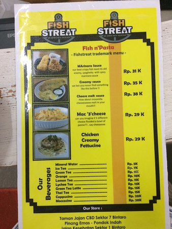the menu and pricelist picture of fish streat jakarta tripadvisor rh tripadvisor com