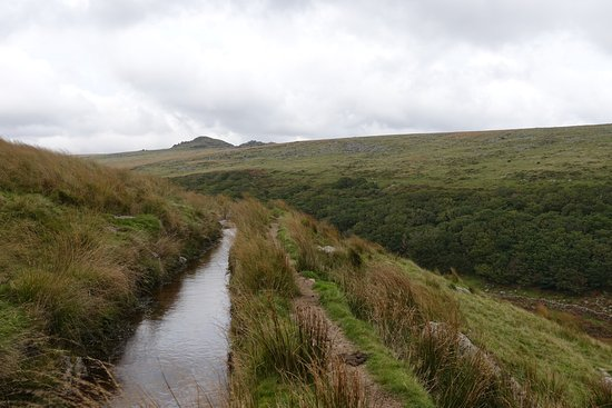Yelverton, UK: Drake's Leat with Higher White Tor in the distance