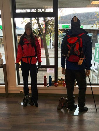 Jorpeland, Norway: mannequins showing how one should be dressed in the mountains.