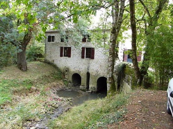 Grateloup-Saint-Gayrand, Francia: Vue du moulin, très peu d'eau en cette période !
