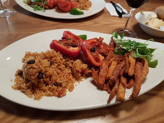 Basildon, UK: Roasted Red peppers and Rice with Sweet Potato Fries