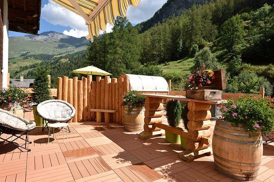 Les Hauderes, Suíça: Terrasse