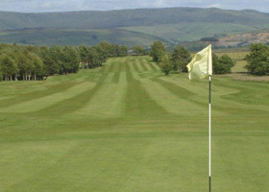 New Mills Golf Club: 14 green looking back towards Kinder