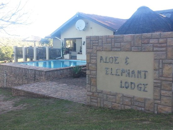 Eastern Cape, Sudáfrica: Entrance to the lodge with swimming pool