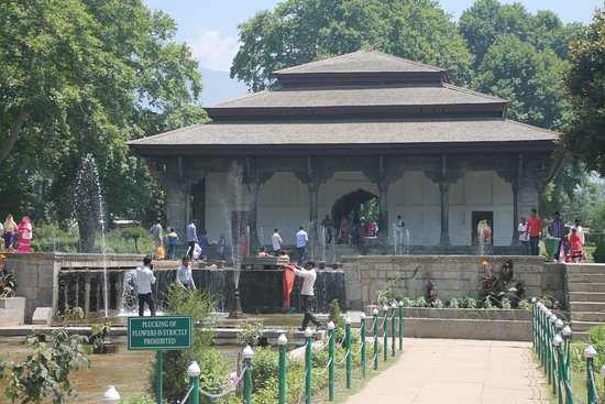 Shalimar Bagh : Pavilion surrounded by cascading water falls and basins.