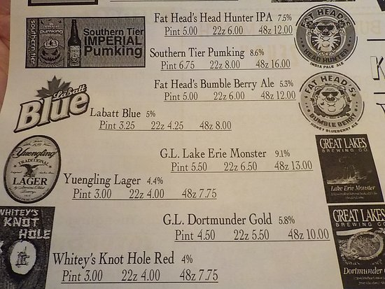 Richfield, OH: Whitey's Booze N' Burgers Draught Beer Selection