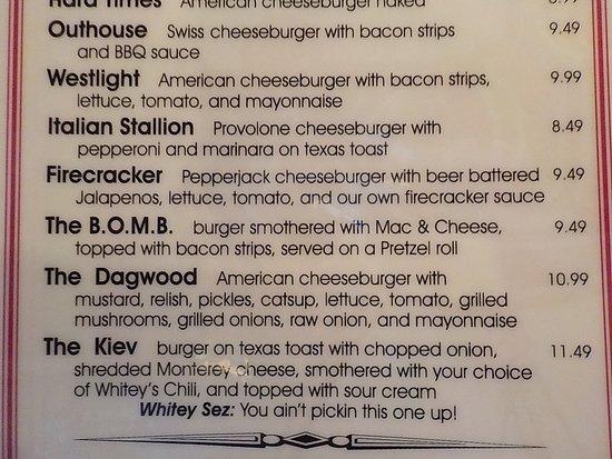 Richfield, OH: Whitey's Booze N' Burgers Menu