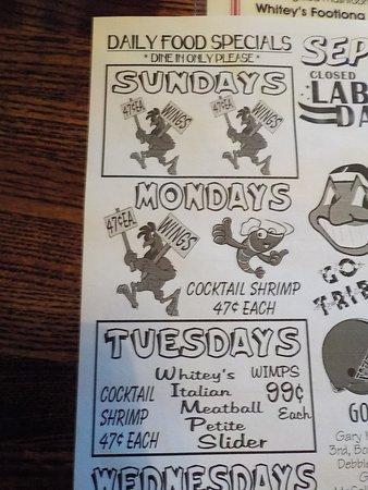 Richfield, OH: Whitey's Booze N' Burgers Specials