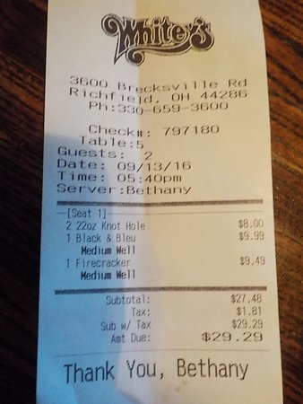 Richfield, OH: Our Bill