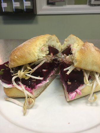 Urbanna, VA: Roasted beets with bean sprouts and a chive goat spread on a ciabatta roll!