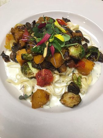 Cuyahoga Falls, OH: ohio city pasta fettucini with brussel spouts, walnuts, roasted tomatoes, butternut squash, mush