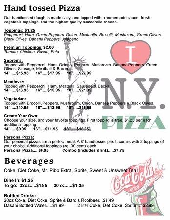 Washington, Gürcistan: Pizza & Beverage menu