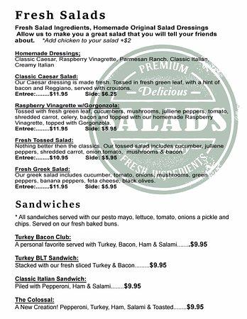 Washington, Gürcistan: Salads & Sandwiches Menu