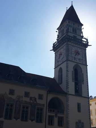 Altes Rathaus: Old Town Hall tower facing river