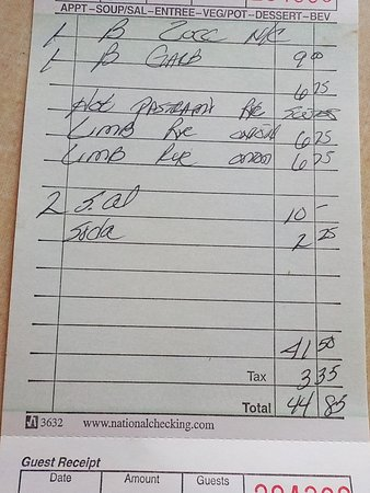 American Hotel of Lima Inc.: Our bill for 3 adults