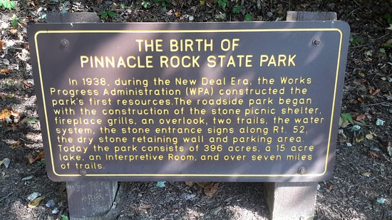 Bramwell, WV: Sign telling about Pinnacle Rock