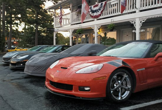 The Trails Inn: Front parking during Corvette weekend