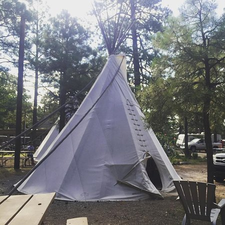"Flagstaff Grand Canyon KOA: This is a small tee pee (they have another that is ""large""), w/ ample room for parking and relax"