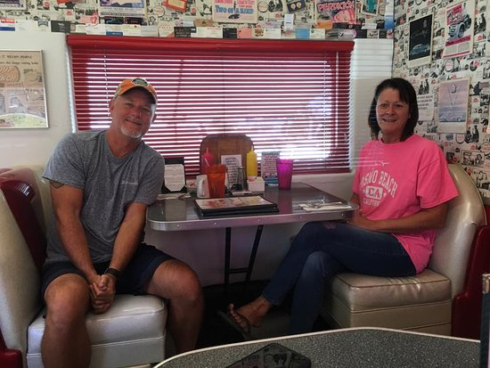 Oceano, CA: My wife and I at the Rock and Roll Diner!