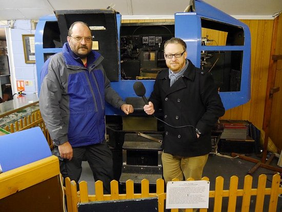 New Romney, UK: Dominic King from Radio KEnt interviews our Chairman Mark Britnell infront of our Link Trainer