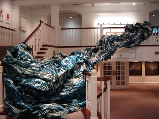 """Hamilton, Bermuda: A Cloth Wave """"Splashes"""" Across the Foyer of the Gallery"""