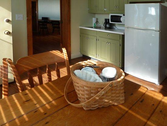 Sebasco Estates, ME: The kitchen with a big fridge, microwave , plates, forks, everything yu need