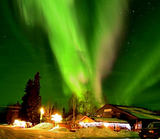 Denali Brewing Company: Northern Lights over the Brewpub in April
