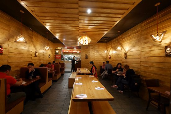 Nom Nom Ramen: Interior View With Staggered Strip Wood Siding Walls And  Ceiling.