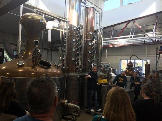 Galena, IL: Matt explaining the distilling process.