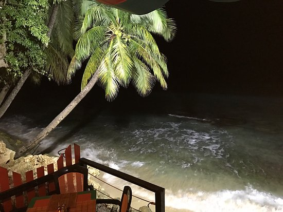 Mullins, Barbados: The sea view from the table at night