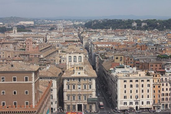 View over Rome from the viewing platform on Terrazza Delle Quadrighe ...