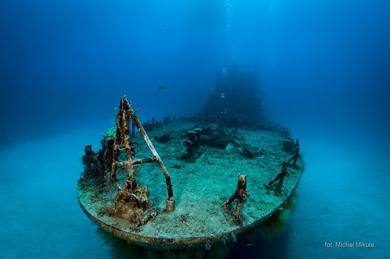Marsalforn, Malta: A clear view of one of the wrecks sitting on a sandy bottom