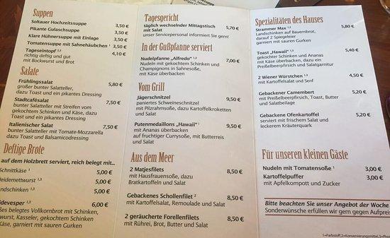 Speisekarte Bild Von Stadtcafe Soltau Tripadvisor