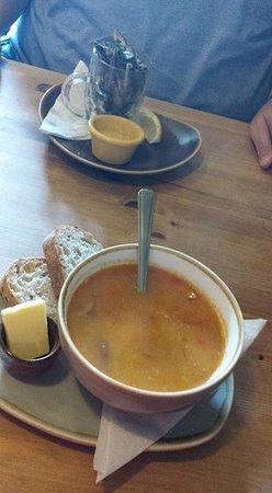 Roasted veg soup - yummy. Whitebait - no batter.