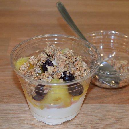 Bootle, UK: Granola, greek yogurt, pineapple, blueberry & mango fruit pot
