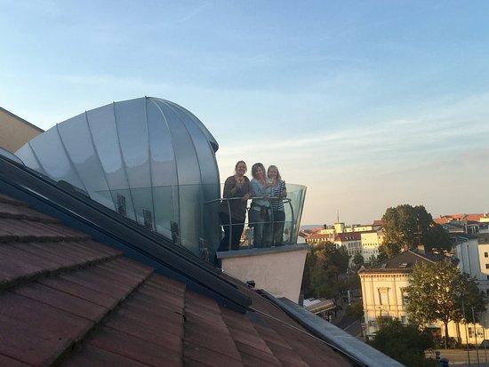 Romantik Hotel Weinhaus Messerschmitt: Balcony in the fire stair well with a nice view