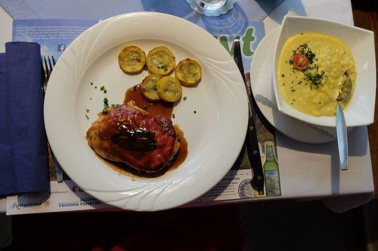 Restaurant Alpegloggli: Saltimbocca mit Zitronenrisotto