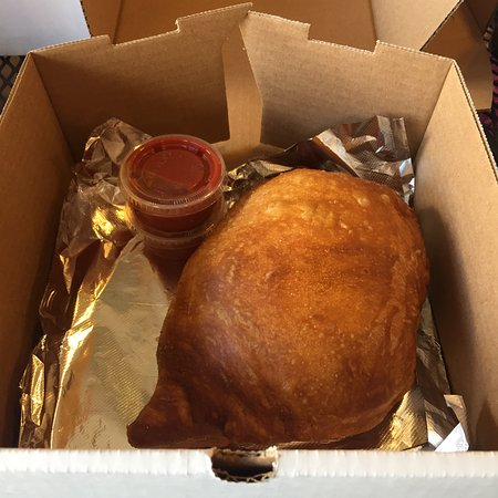 Silver Creek, NY: Look at this whopper of a fried calzone! It's huge!