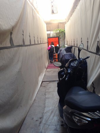 Riad Cherihane : This picture is at the entrance, it is a very narrow, reason why bike parking.