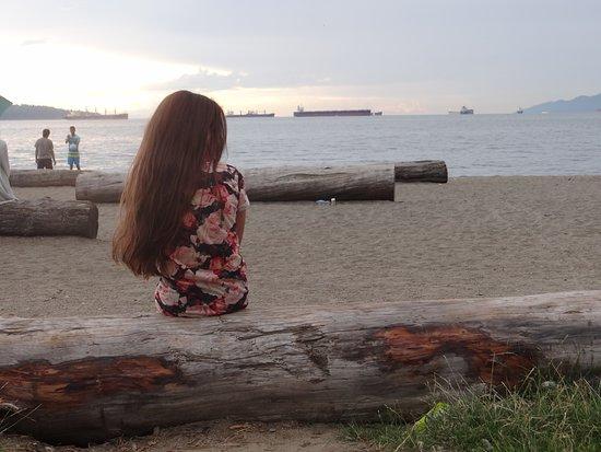 English Bay: Vários troncos deitados para sentar e observar a paisagem