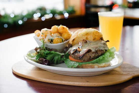 Red Eye Brewing Company: Fresh grass-fed beef burger.