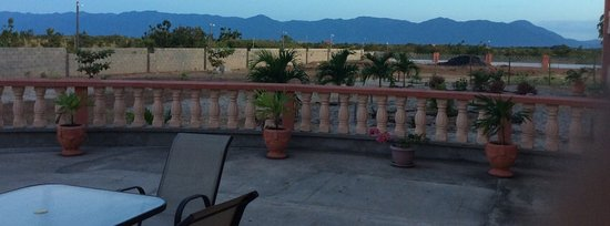 Lethem, Guyana: A view of the amazing Takutu Mountains from the ground floor patio